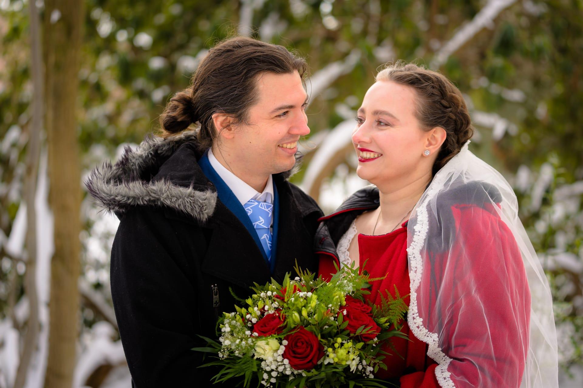 Bruidsfotografie sneeuw winter